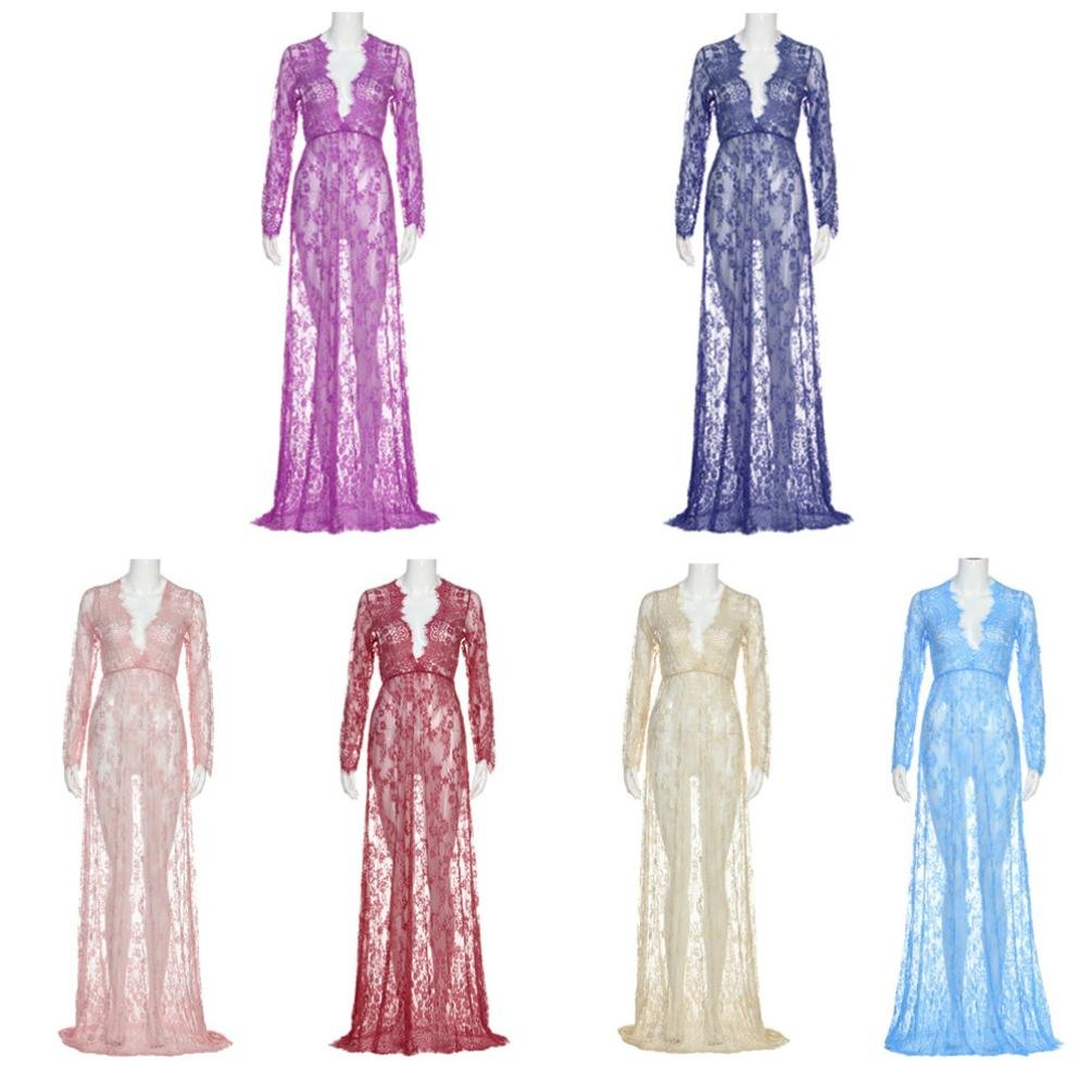 645d0e8ec Amazon.com: Sunbona Maternity Chiffon Lace Maxi Sexy Long Sleeve Evening  Party Dresses Women's Pregnant Dress Photography Props (Blue, Asian Size:  XL): Arts ...