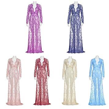 91e408f5a11 Amazon.com  Sunbona Maternity Chiffon Lace Maxi Sexy Long Sleeve Evening  Party Dresses Women s Pregnant Dress Photography Props (Navy