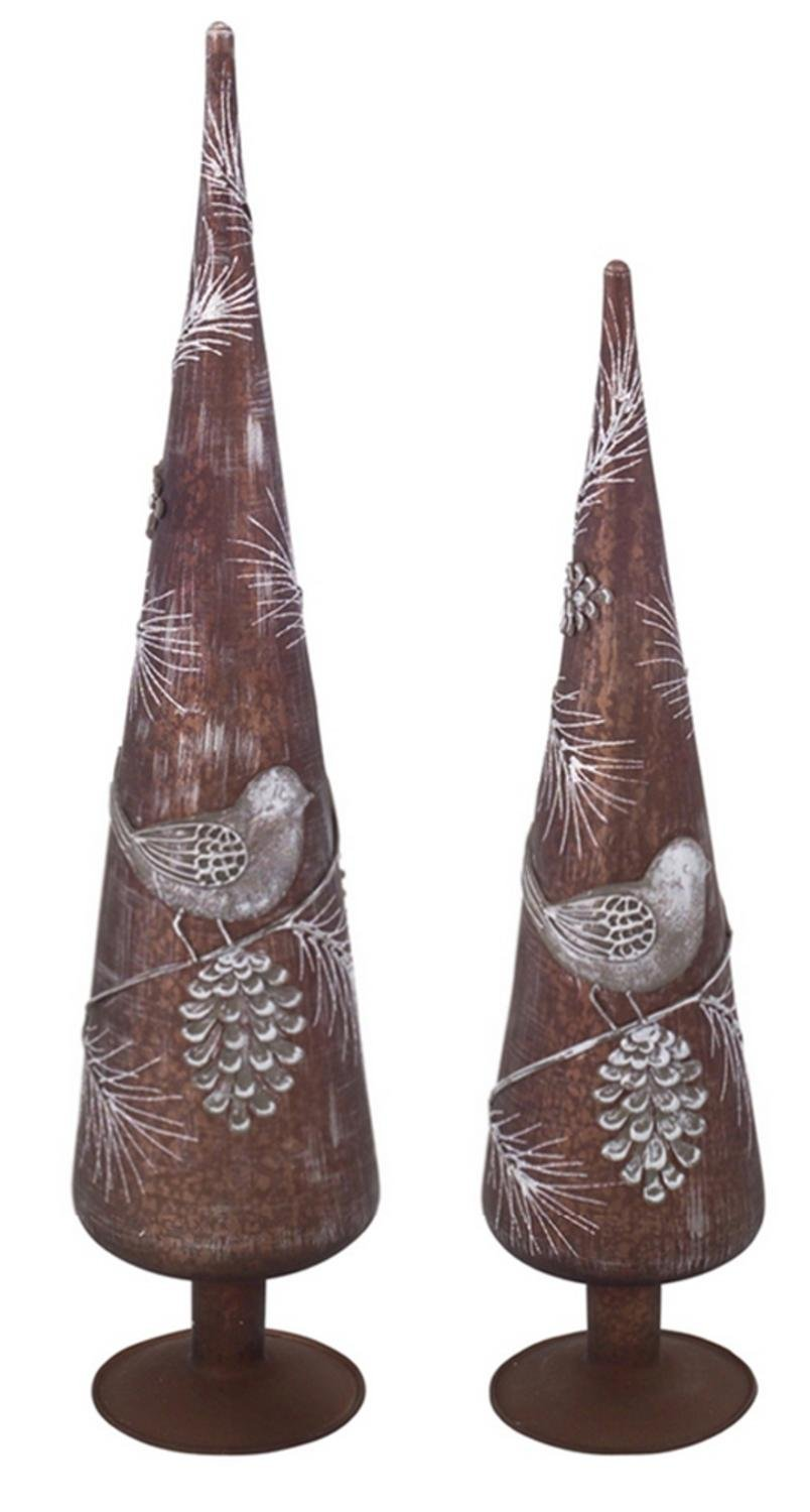 Pack of 6 Weathered Bird and Pine Cone Glass Finial Christmas Tree Toppers
