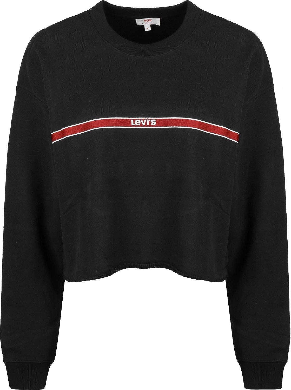 Levis Damen Sweatshirt Graphic RAW Cut Crew 56340 0010 Schwarz