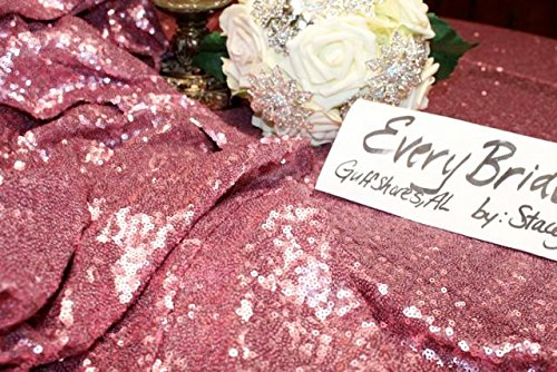 Pack of 10PCS,High Quality Sparkly 120-Inch Round Sequin Tablecloth Pink Gold Sequin Table Overlay,Cake Sequin Tablecloths,Sequin Linens for Wedding by LQIAO (Image #2)