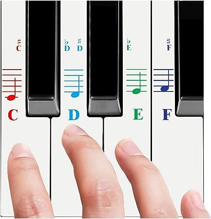 Pegatinas de piano para todas las llaves blancas (49/61/76/88 teclados de llaves) – transparente y extraíble, libro electrónico de piano gratis