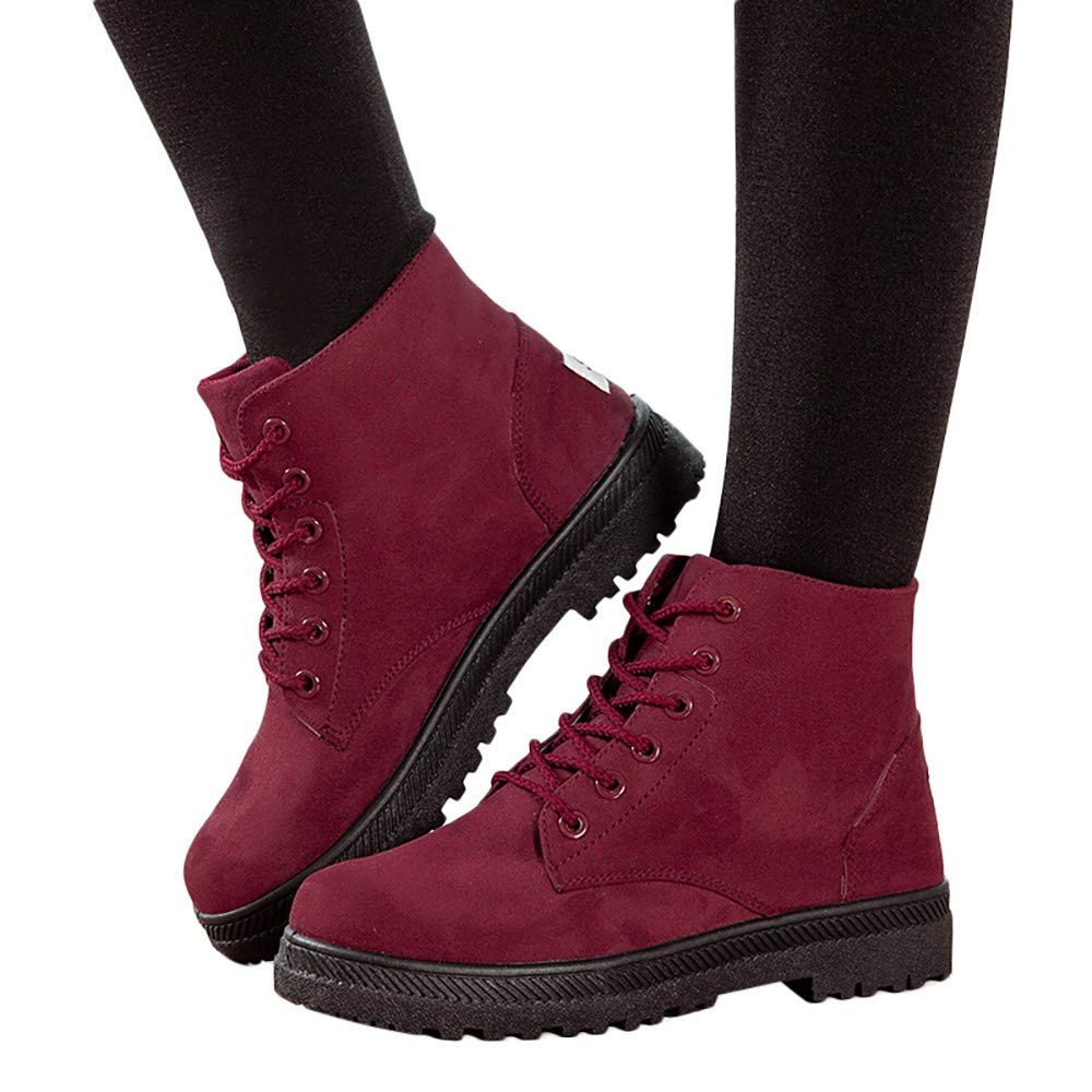 WuyiMC Women Ankle Boots Canvas Shoes Slip on Lace Up Boots Fashion Casual