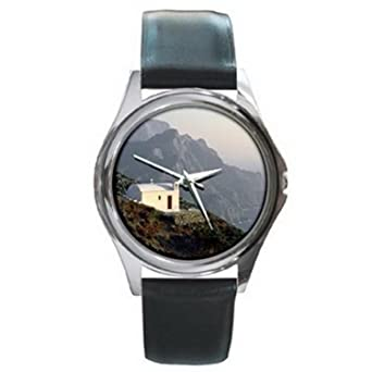 11f5a862b6a CDG365 Karpathos Greece House on Cliff Silver Watch Black Leather   Amazon.co.uk  Watches
