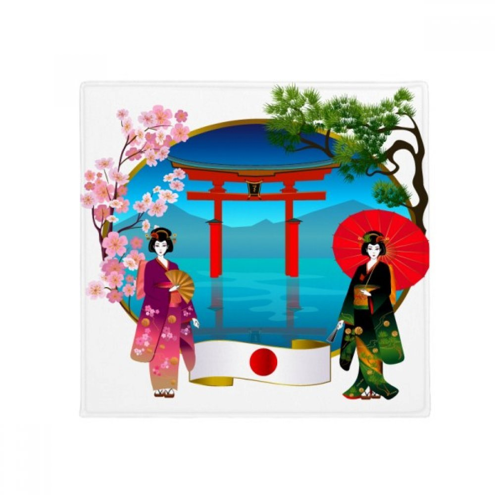 DIYthinker Kimono Girl Japan Culture Umbrella Anti-Slip Floor Pet Mat Square Home Kitchen Door 80Cm Gift