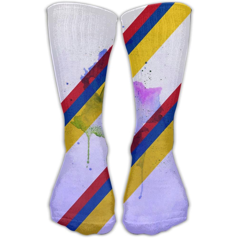 SESY Watercolor Colombia Flag Unisex Crew Socks Short Sports Socks.