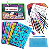 Drawing Stencil Set - 54-Piece Crafting Kit for Kids - Premium Travel Activities for Toddlers - Fun & Educational Toy for Children 3+ Years Old - Ideal for Girls & Boys - Perfect as Birthday Gift
