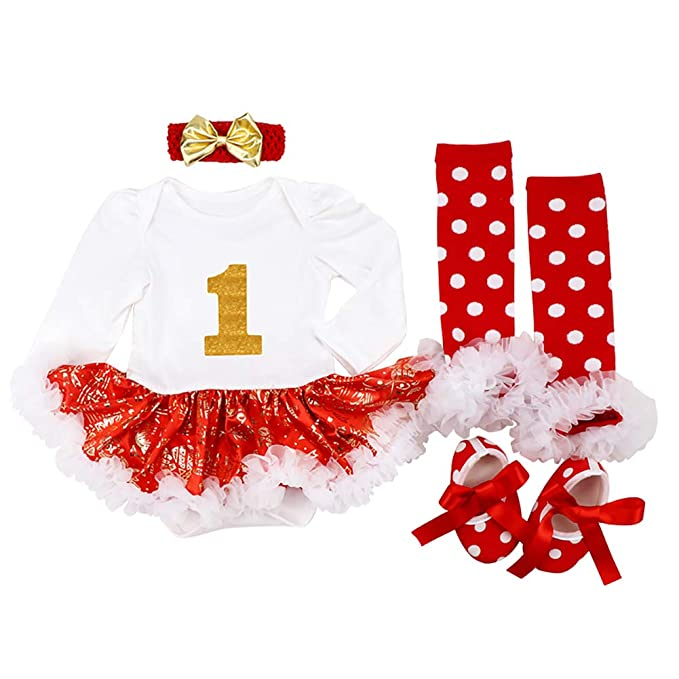 d0c2073d4bb8 My 1st Christmas Outfit Newborn Baby Girls Romper Tutu Dress with Ruffle Tulle  Skirt + Bow ...