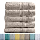 5-Pack Premium 100% Cotton Bath Towel Set (28 x 52 inch) Multipack For Home Spa Pool Gym Use. Quick-Drying and Extra Absorbent. Emelia Collection. (Silver Cloud)