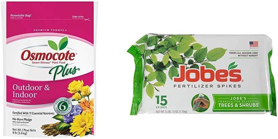 Osmocote 274850 Smart-Release Plant Food Plus Outdoor & Indoor, 8 lbs & Jobe's 01660 1610 0 Tree Fertilizer Spikes 16-4-4, 15
