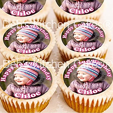 Photo Cake Toppers Your Own Photo And Message Edible Icing 4cm