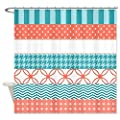 CafePress Coral Teal Washi Tape Pattern Shower Curtain