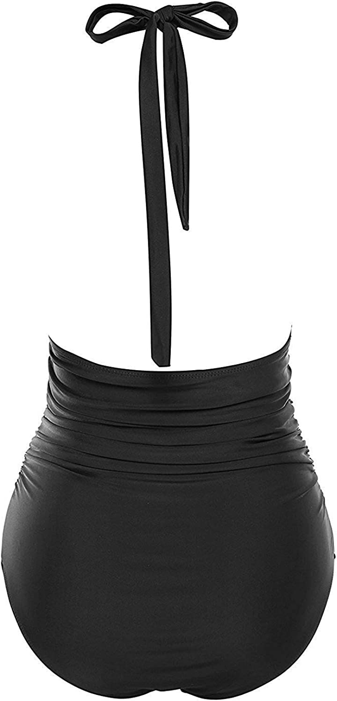 B2prity Damen Badeanzug Retro Tief V Ausschnitt R/ückenfrei Neckholder Bauchweg Monokini Bademode Bikini