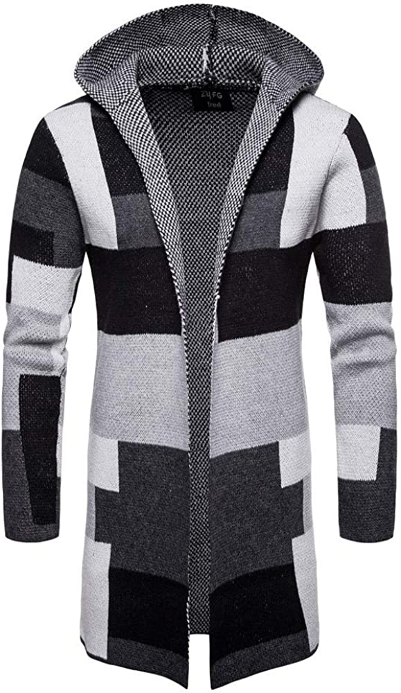 MODOQO Men's Long Cardigan Hoodies Casual Patchwork Knitwear Jacket Coat Tops