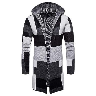 Quaan Herren Outwear Kapuzin Solide Stricken Patchwork Draussen Modus 2018  Herbst Winter Mantel Jacke Strickjacke Lange Ärmel Oberteile Retro Sport ... 965c9028aa