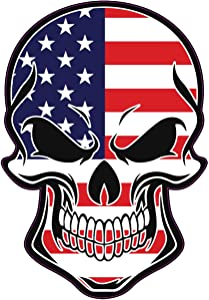 WickedGoodz American Flag Skull Vinyl Decal - US Bumper Sticker - Proud Patriotic American Gift