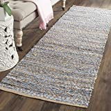 Safavieh Cape Cod Collection CAP350A Hand Woven Flatweave Chevron Natural and Blue Jute Area Rug (2'3'' x 4')