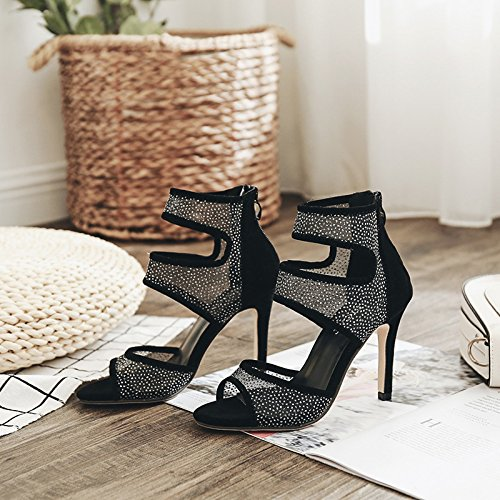 Transparent 10Cm HGTYU Thirty Hollowed Suede Drill Female High Out Mouth seven Water Heel Spring Sandals Fish qpw8HPq