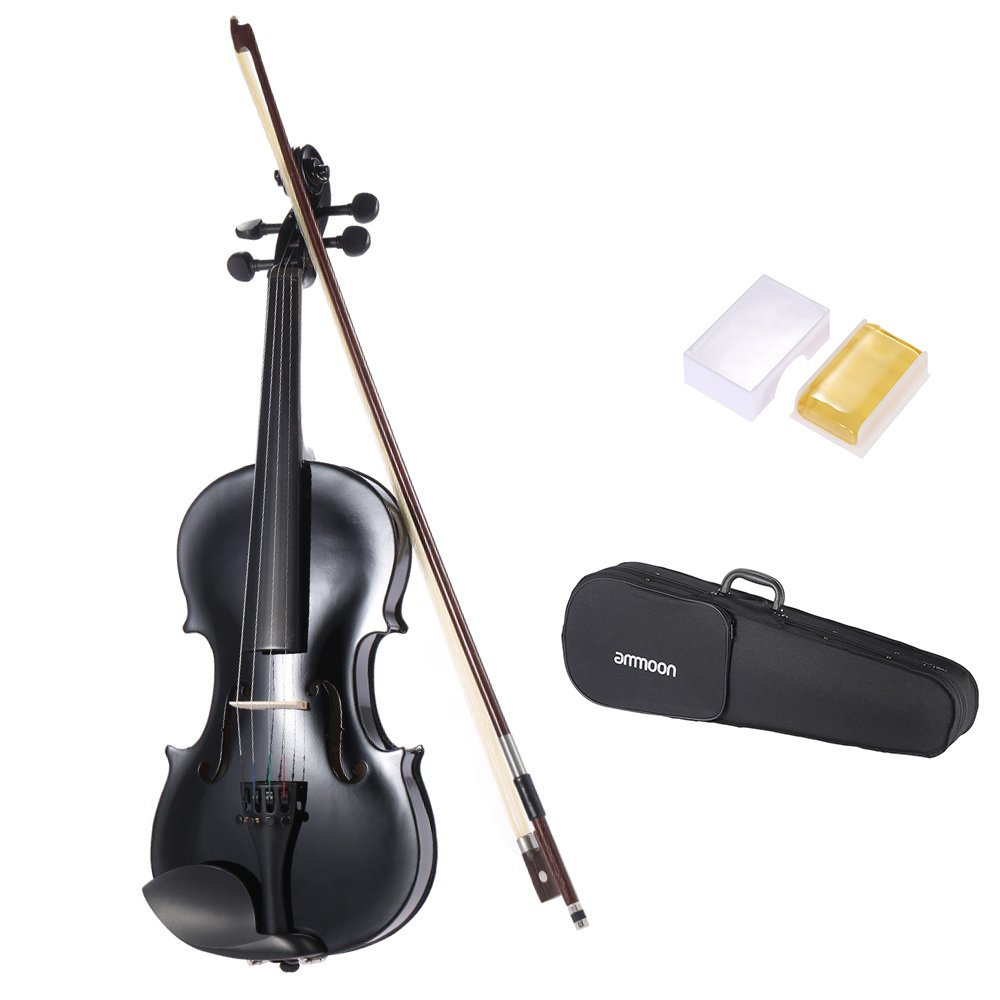ammoon 4/4 Student Violin Metallic Black Equipped with Steel String w/ Arbor Bow + Case for Beginners Music Lovers
