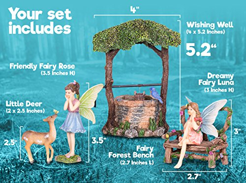 Joykick Fairy Garden Wishing Well Kit - Miniature Hand Painted Figurine Statues with Accessories - Set of 5pcs for Your House or Lawn Decor by Joykick (Image #3)