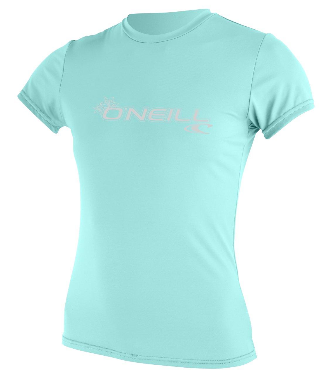 O'Neill Wetsuits Women's Basic Skins Upf 50+ Short Sleeve Sun Shirt, Seaglass, X-Small