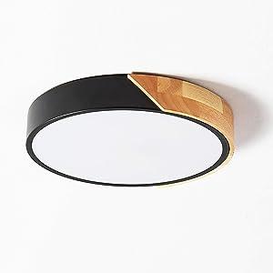 LED Ceiling Lights,LuFun 7.8 Inch Black Modern Flush Mount Lighting Fixture,Round Shaped Wood Ceiling Lighting,24W,6500K Cool White