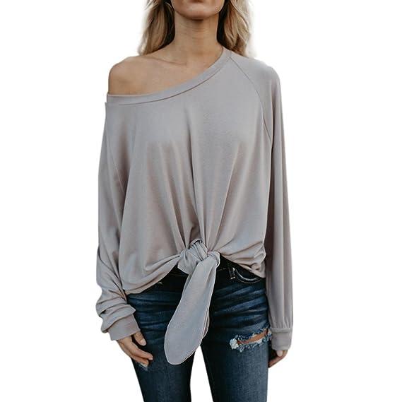 Tefamore Camisetas Mujer Atractivo Moda Sin Tirantes Vendaje Blusa Manga Larga Tops t Shirt: Amazon.es: Ropa y accesorios