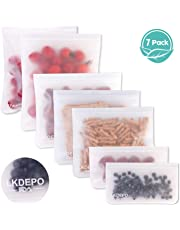 Reusable Food Bags(Pack of 7) LKDEPO Reusable Ziplock Bags, Sandwich Storage Bags, Leakproof and Fresh for Snacks Fruit Storage EVA Produce Bags FDA Approved- 2S(8.5in x 4.75in),3M(8.5in x 7in),2L(10inx 7.8in)