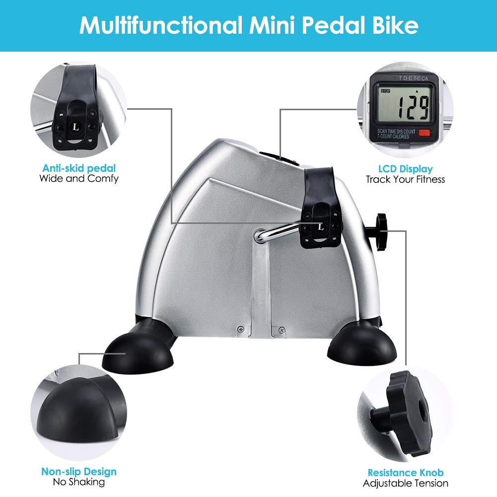 SYNTEAM Mini Exercise Bike with Electronic Display Under Desk Bike Arms Legs Exercise Machine (LWB02, Silver) by Synteam (Image #4)
