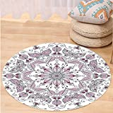 Niasjnfu Chen Custom carpetPurple Mandala Lacy Pastel Floral with Butterfly and Lotus Figures Meditation Design for Bedroom Living Room Dorm White Light Pink