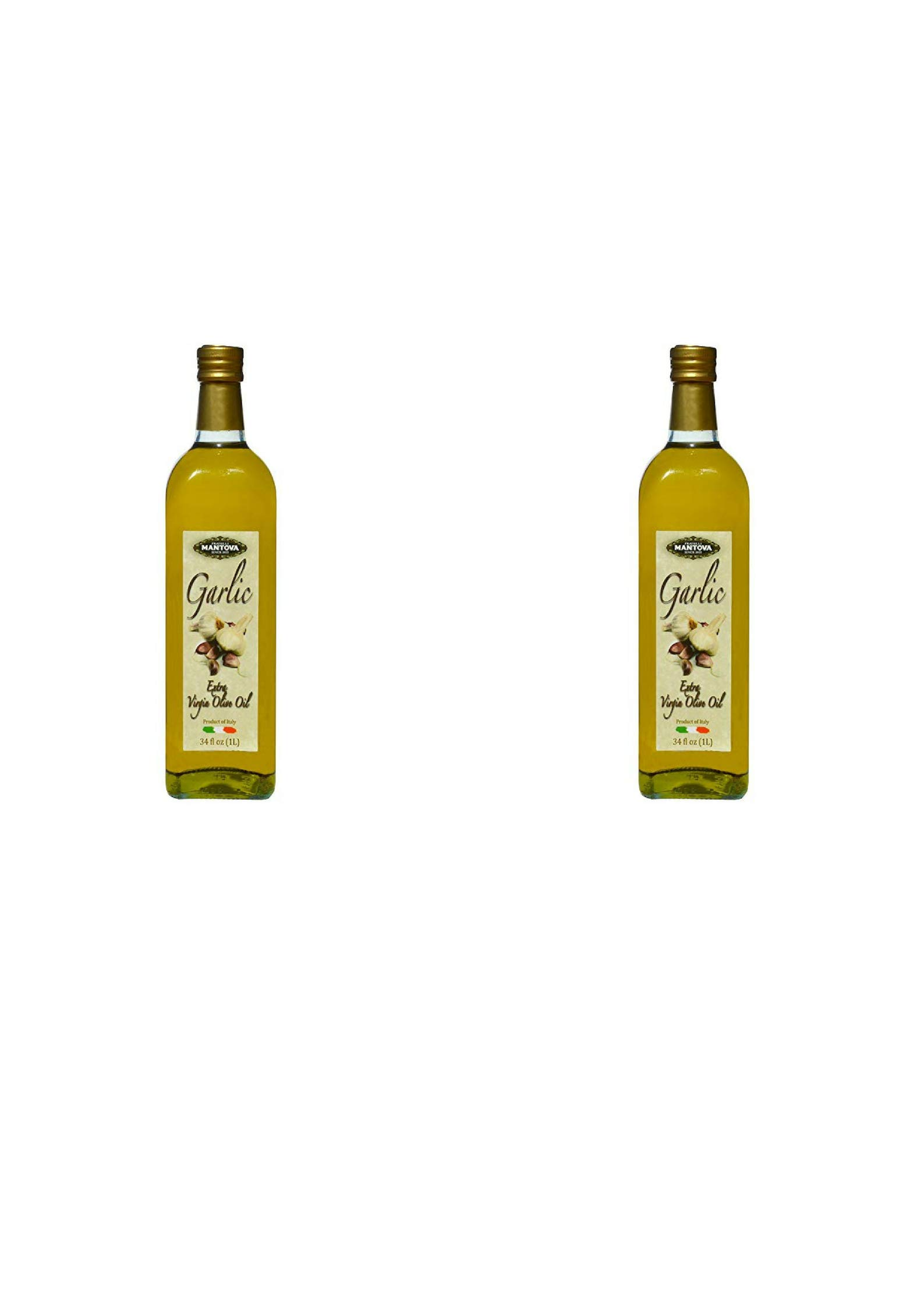 Mantova Garlic Italian Extra Virgin Olive Oil Bottles, 34 oz, 2 Pack (2 Pack) by Mantova