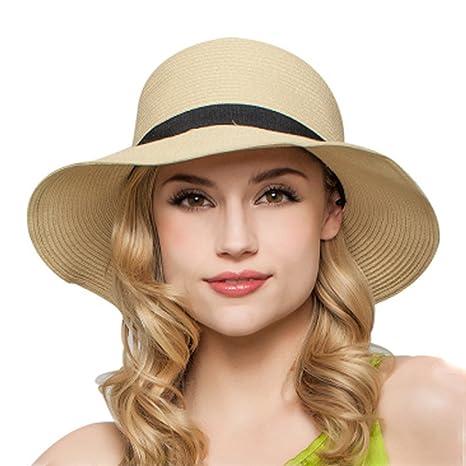 bd1c42a6805f1 TININNA Mujeres Ladies plegable elegante lazo Floppy Sombrero de Playa Sol  Sombrero De Paja Cap Visera