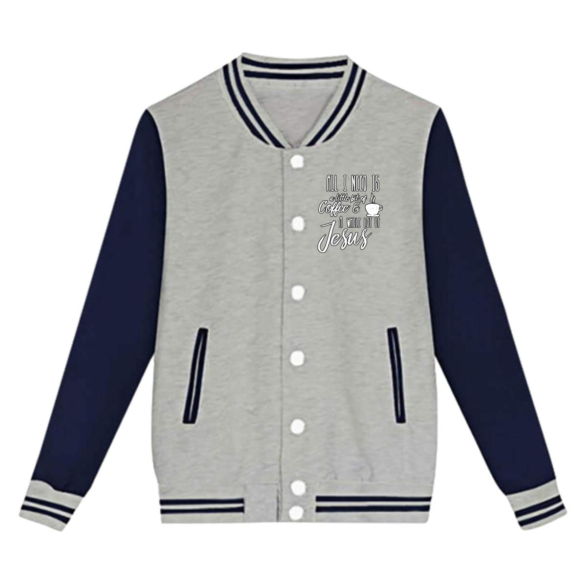 Tina TN All I Need is Little Bit of Coffee and Whole Lot of Jesus Teens Boys Girl Varsity Baseball Jacket Long Sleeve Sport Baseball Uniform Jacket Coat Sweater Black