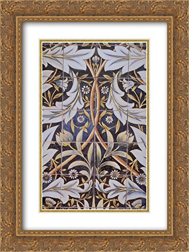 William Morris 2X Matted 18x24 Gold Ornate Framed Art Print 'Panel of Ceramic Tiles Designed by Morris and Produced by William De Morgan'