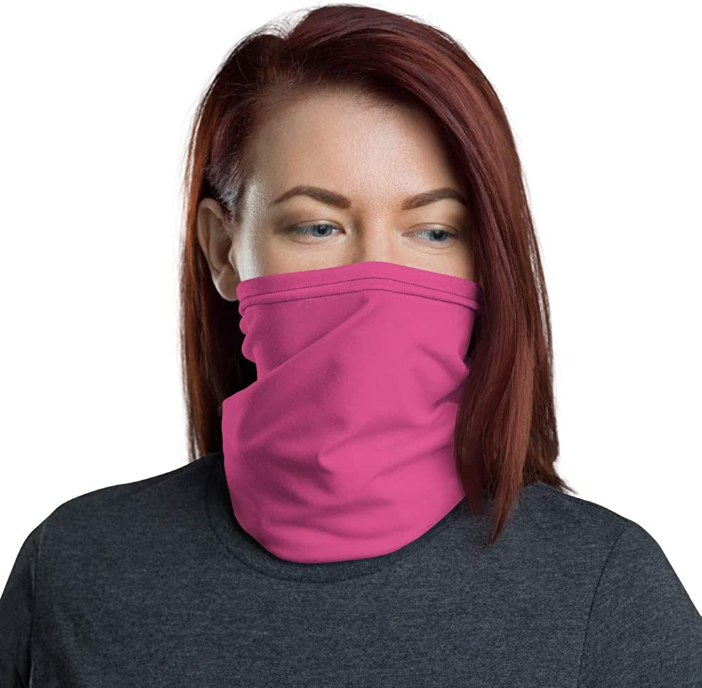 Face Mask Neck Warmer Fleece Gaiter Hat Adjustable Drawstring and Clasp PINK new