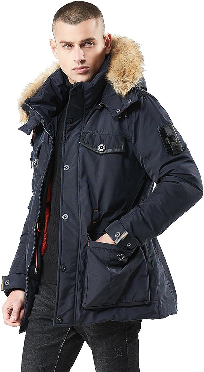 MOKAYA Mens Down Jacket Detahable Fur Hooded Parka Windbreak Heavy Coat
