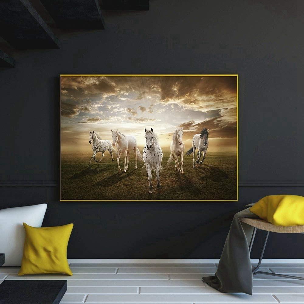 zzlfn3lv Caballo al éxito Cartel Paisaje Pintura Hotel decoración Club de Pintura Feng Shui Pintura Cuadro eléctrico decoración Pintura 40x60cm