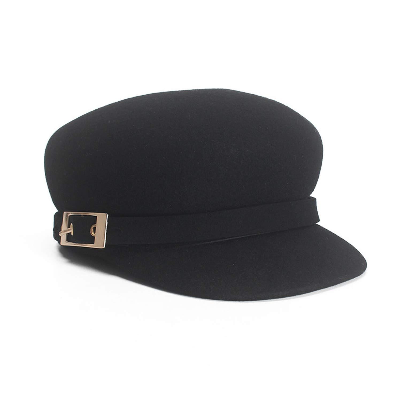 Boina Militar Peaky Blinder Wool Cap Women Winter Hats Classic Newsboy Baker Boy,Black,57cm(Adjustable)
