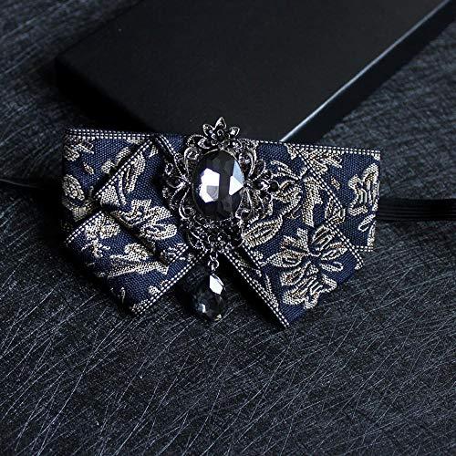 ZhiGe Bow Ties,Men's Diamond Collar Flower Party Wedding Host Performance MC Gentleman Suit Shirt Dress tie