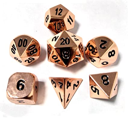 Amazoncom Feilin Copper Polyhedral 7 Die Dice Set Dungeons Dragons