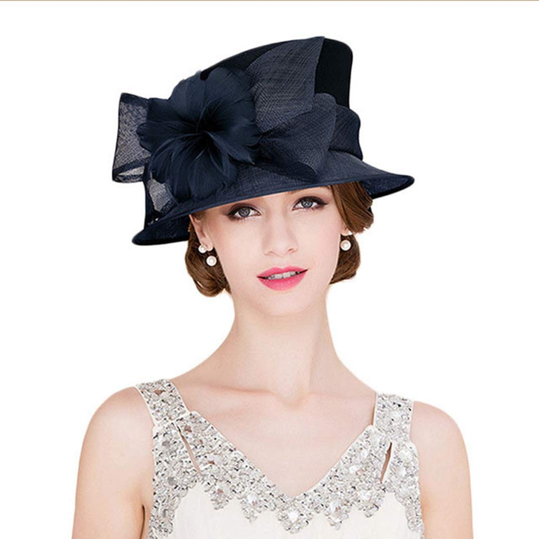 Fascinators for Women Sinamay Kentucky Derby Hats Royal Wedding Hat Ladies Wide Brim Feather Fedoras Blue