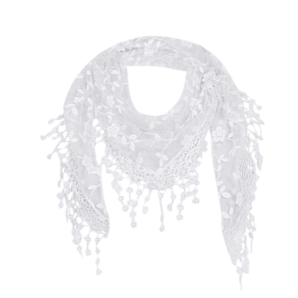 Scarfs For Women Lightweight Shawl Winter Clearance, Lace Sheer Floral Tassel Wrap Chiffon Shawl Scarves (White)