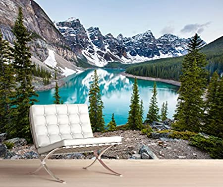 StickersWall Mountain Water Lakeside Landscape Nature Scenery Wall Mural Photo Wallpaper Picture Self Adhesive 1096 (228cm(W) x 161cm(H)): Amazon.co.uk: ...
