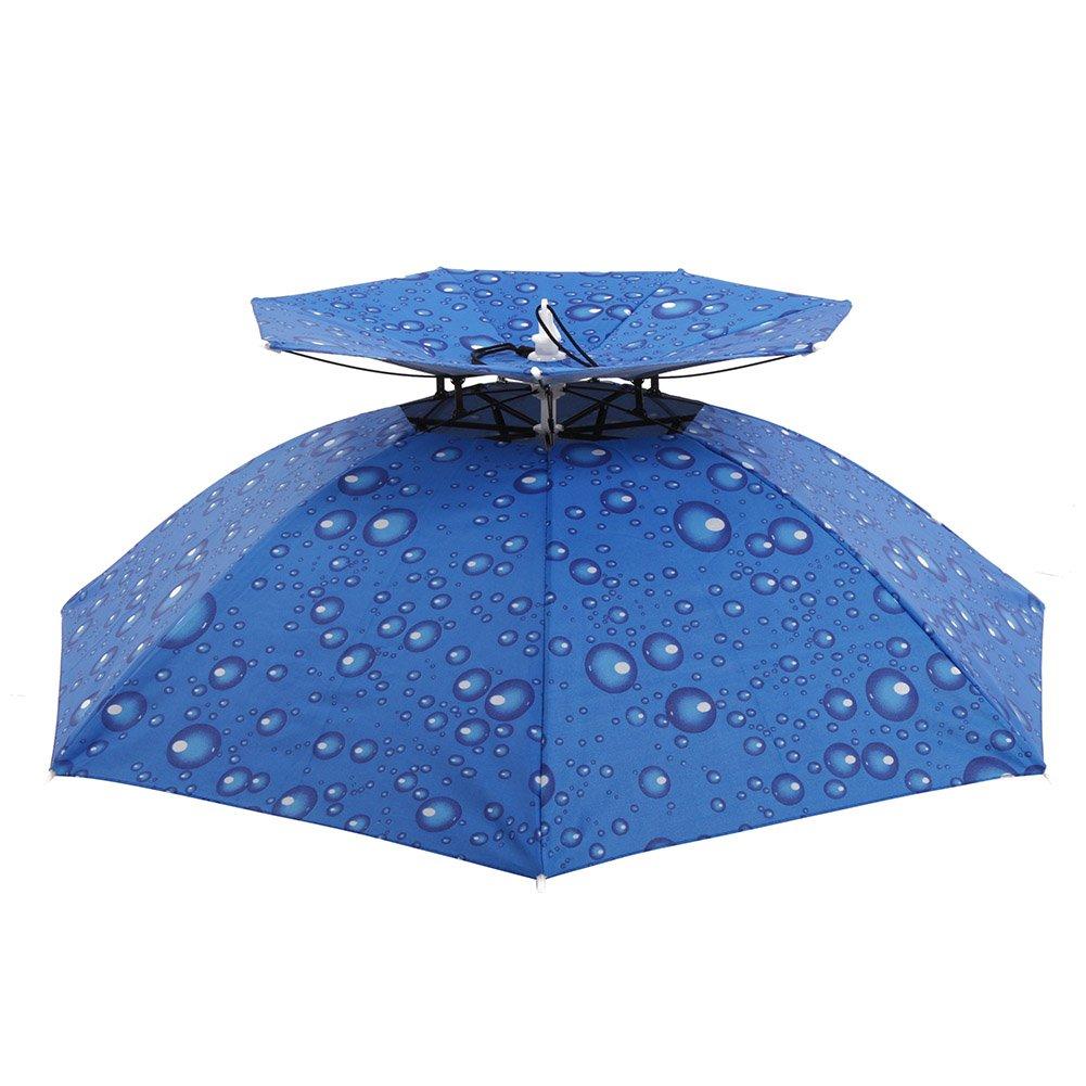 Cocohot New Outdoor Large Double-deck Windproof Fishing Umbrella Hat Cap  Fishing Cycling Hiking Camping Beach Women Men Kid Sunny Rainy Umbrellas  Anti-UV ... 7fc413cd71e