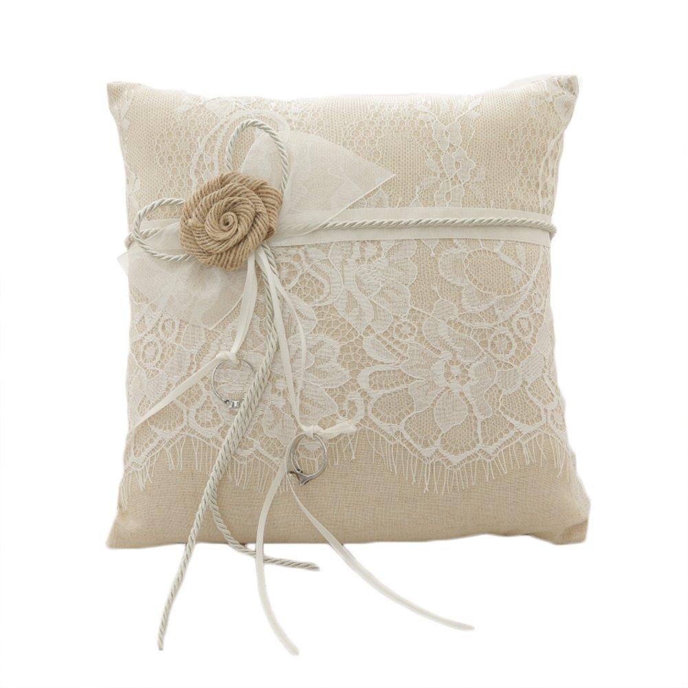 Lace Pearl Embroided Satin Flower Wedding Ring Bearer Pillow 7.8 Inch x 7.8 Inch (Linen Flower)