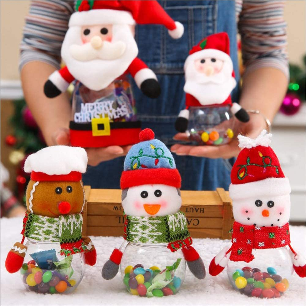 Plastic Gift Bottle Holder Container Gift Bag Sweets Box EXBOM 5 Pack Christmas Candy Jar PVC Santa Xmas Storage Bottle Clear Snowman Elk Gingerbread Man Penguin Cookies Canister Storage Box