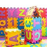 Kikyou 36pcs Baby Kids Puzzle Play Mat, Alphabet & Numerals Baby Kids Crawling Mat