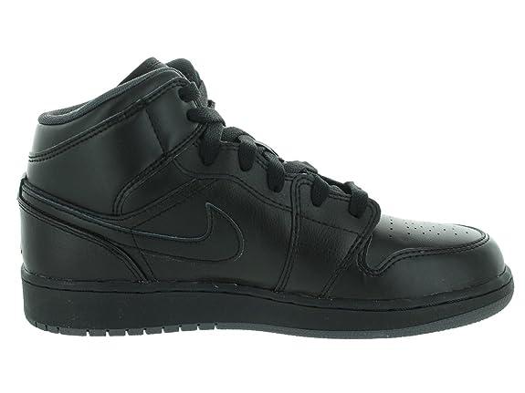 Amazon.com | Jordan Air Jordan 1 Mid Youth Round Toe Leather Gray  Basketball Shoe (7 M US, Black/Black/Dark Grey) | Fitness & Cross-Training