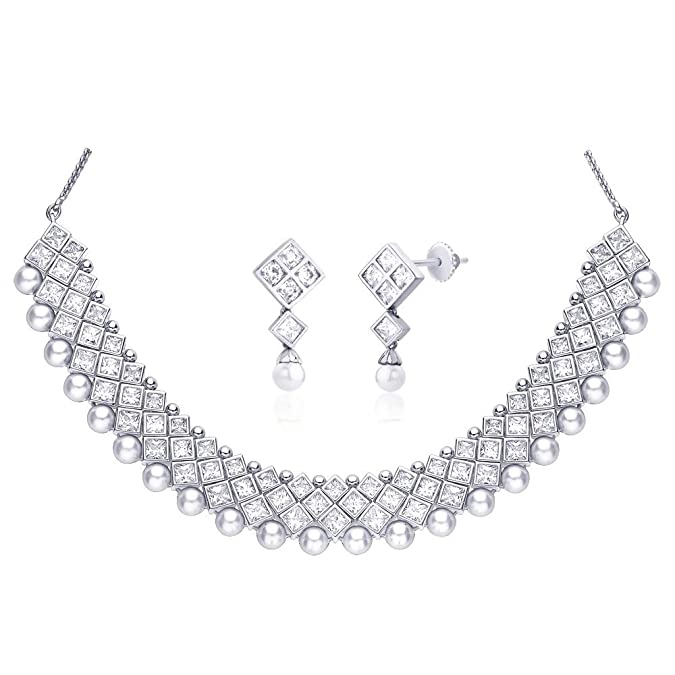 "Peora Valentine Rhodium Plated Cubic Zirconia and Imitation Pearl ""Anika"" Choker Necklace Earrings Set (PN11S) Women's Jewellery Sets at amazon"