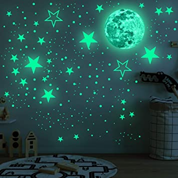 Amazon Com 435pcs Glow In The Dark Stickers Luminous Fluorescent Stickers Sticker Round Dot Glow In The Dark Wall Stickers Ceiling Decal Murals Bright Stars And Full Moon Starry Sky Stickers For Nursery